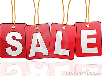 Sale cards hanging by rope