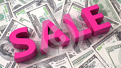 Sale on the dollar background