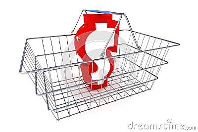 Sale Dollar Basket Illustration