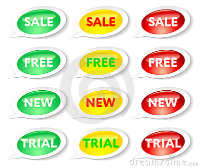 Sale, free, new and trial stickers