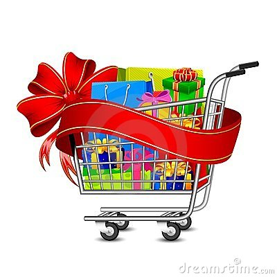 Sale Gift Box in Shopping Cart