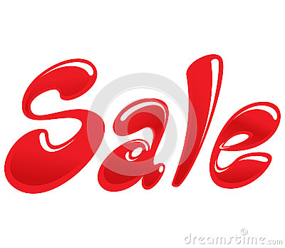 Sale icon with red cartoon text