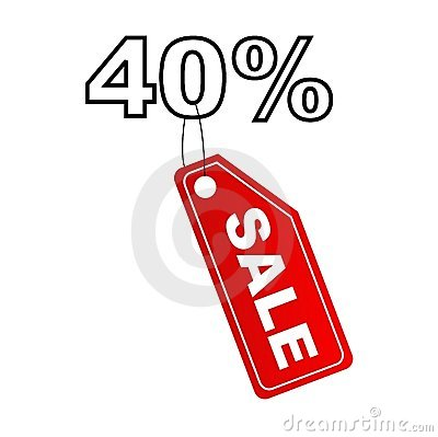 Sale label with 40  discount