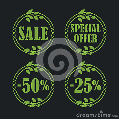 Free Sale Label Price Tag Banner Badge In Flora Design Stock Photos - 93823053