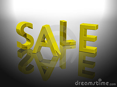Sale letters shining gold color