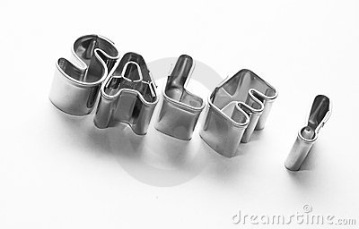 Sale message, chrome letters