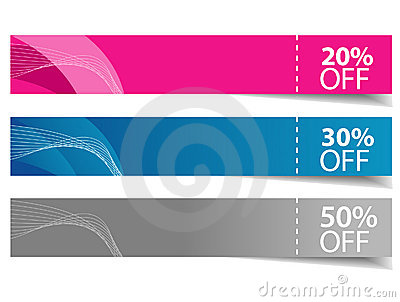 Sale multicolor shadow banners