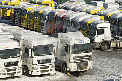 Sale of new and used heavy trucks in Moscow Editorial Photography