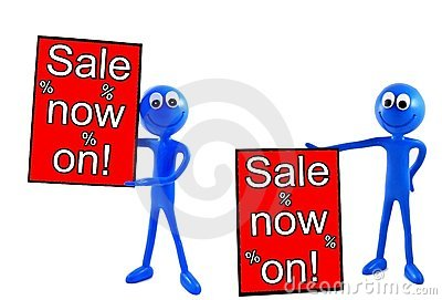 Sale now on advert board