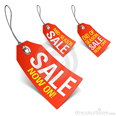 Sale now on and season sale tags