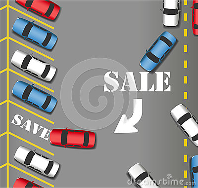 Free Sale Parking Store Customers Cars Save Royalty Free Stock Photo - 30361385