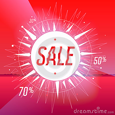 Sale poster with star on red background