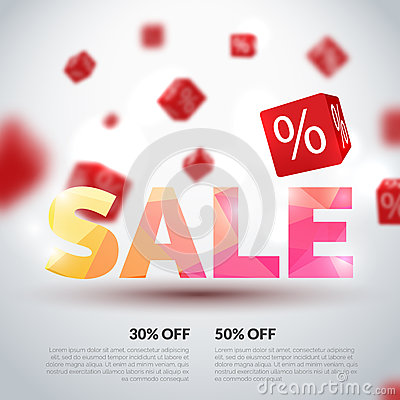 Free Sale Poster. Vector Illustration. Design Template For Holiday Sale Event. 3d Cubes With Percents. Original Festive Royalty Free Stock Images - 72467599