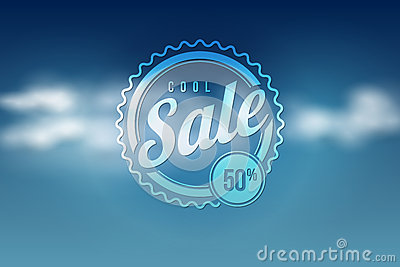 Sale seal on blue sky