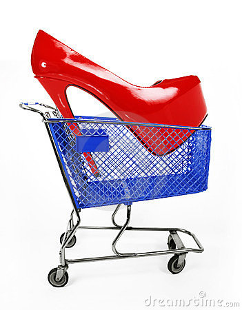 Sale shoes concept, red shoes in blue shopping car