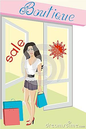 Sale shop. Beautiful woman shopping with bags