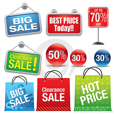 Free Sale Shopping Bags And Signs Royalty Free Stock Photography - 9100357