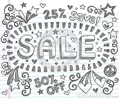 Sale Shopping Discount Sketchy Doodles Vector Set