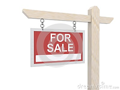 For sale sign board hanging