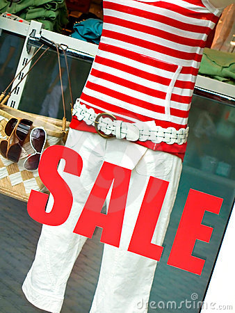 Sale sign on boutique window