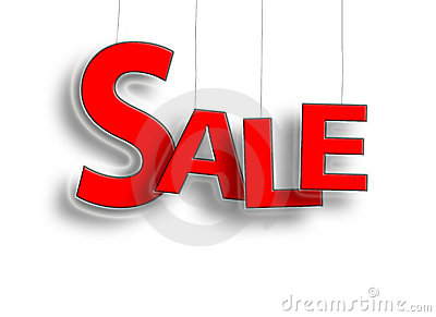 Sale sign hanging in red