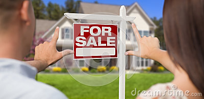 For Sale Sign, House and Military Couple Framing Hands