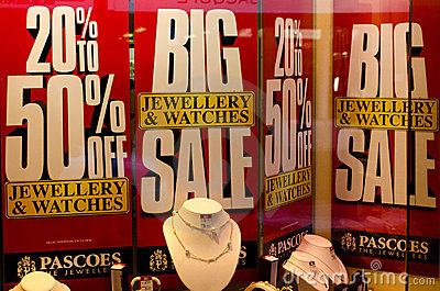 Sale sign in a jewellery shop window. Editorial Stock Image