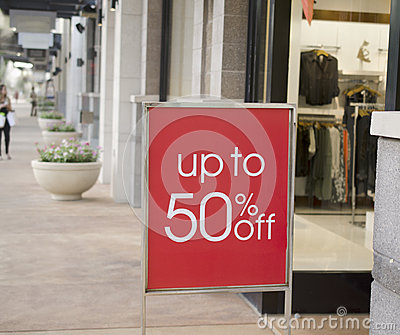 Sale sign outside retail store