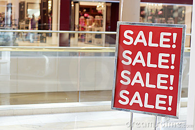 Sale sign outside store