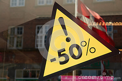 Sale sign 50 percent off the price Stock Photo