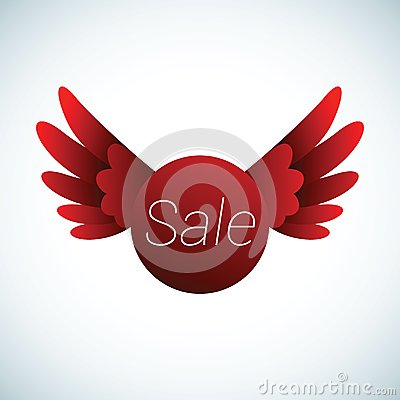 Sale sign with red wings