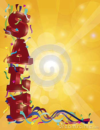 SALE Sign with Ribbons Confetti and Sun Rays