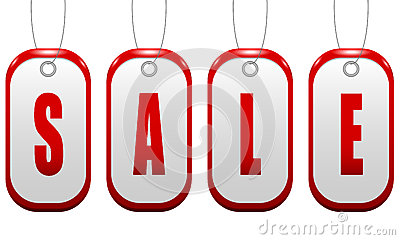 Sale sign in the shape of a red badge with holes p