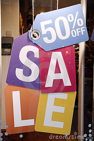 Sale signs in shop window