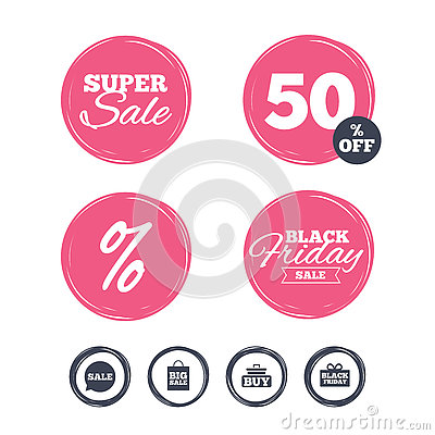Sale Speech Bubble Icons. Buy Cart Symbol. Stock Vector - Image ...