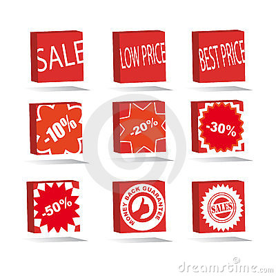 sale square icons set