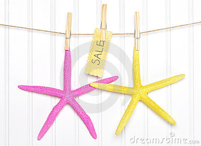 Sale Starfish with Sign on Clothesline