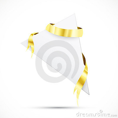Sale tag with gold ribbon