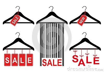 Sale Tags On Clothes Hanger, Vector Set Stock Photos - Image: 30557263