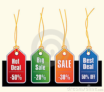 Sale tags with gold strings