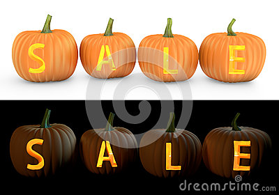 Sale text carved on pumpkin jack lantern