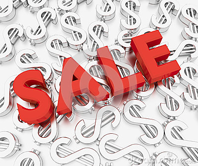 3d Sale Text with Dollar sign