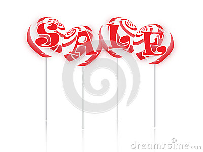 Sale text with sweet lollipops