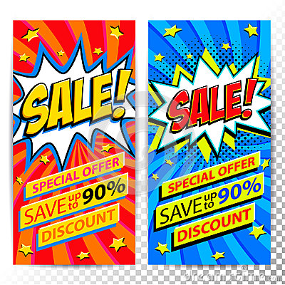 Free Sale Web Banners. Set Of Pop Art Comic Sale Discount Promotion Banners. Big Sale Background. Decorative Backgrounds With Stock Photo - 97688600