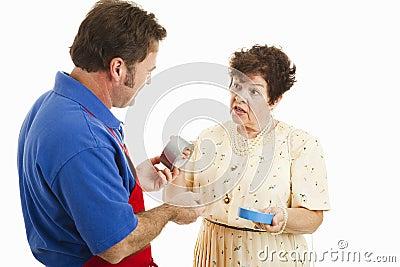 Sales Clerk Helps Customer