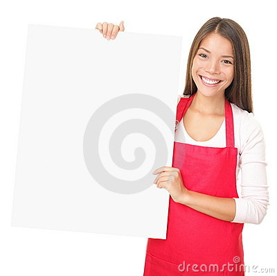 Free Sales Clerk Showing Blank Sign Royalty Free Stock Photo - 17148185
