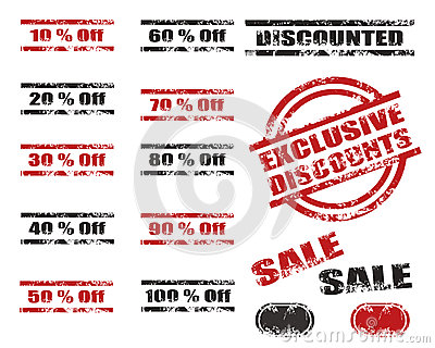 Sales Discounts grunge stamp set