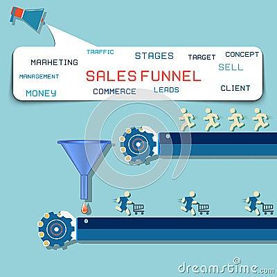 Free Sales Funnel Flat Illustration,  Graphics. Stock Photo - 47341780