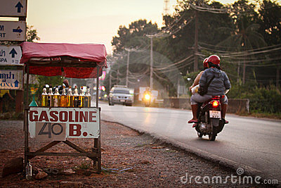 Sales of gasoline near the road Editorial Stock Image
