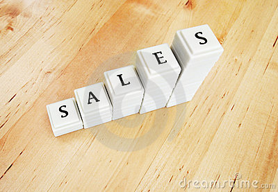 Sales increase - word in blocks